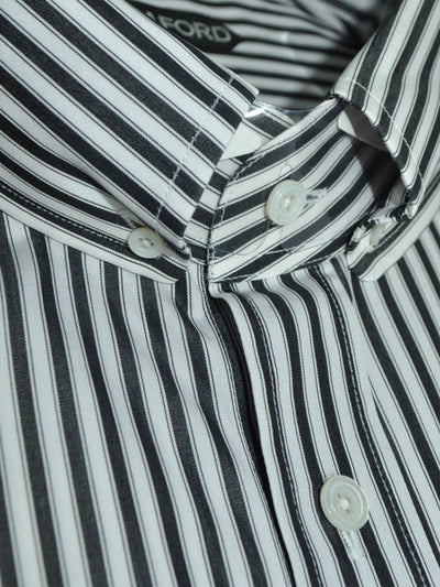 Tom Ford Button Down Shirt White Black Stripes 43 - 17 REDUCED - SALE