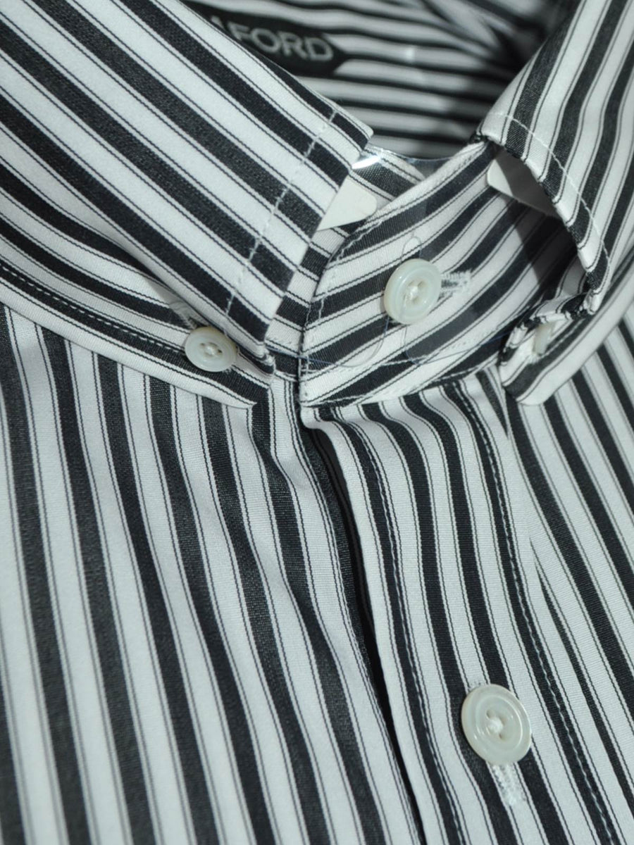 Tom Ford Button Down Shirt White Black Stripes