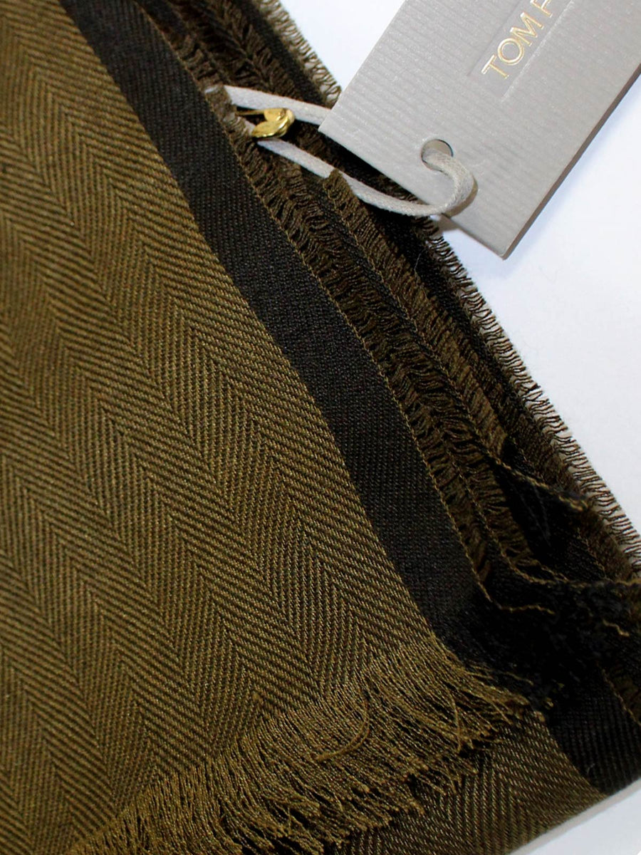 Tom Ford Cashmere Silk Wool Scarf Dark Olive Green Solid SALE