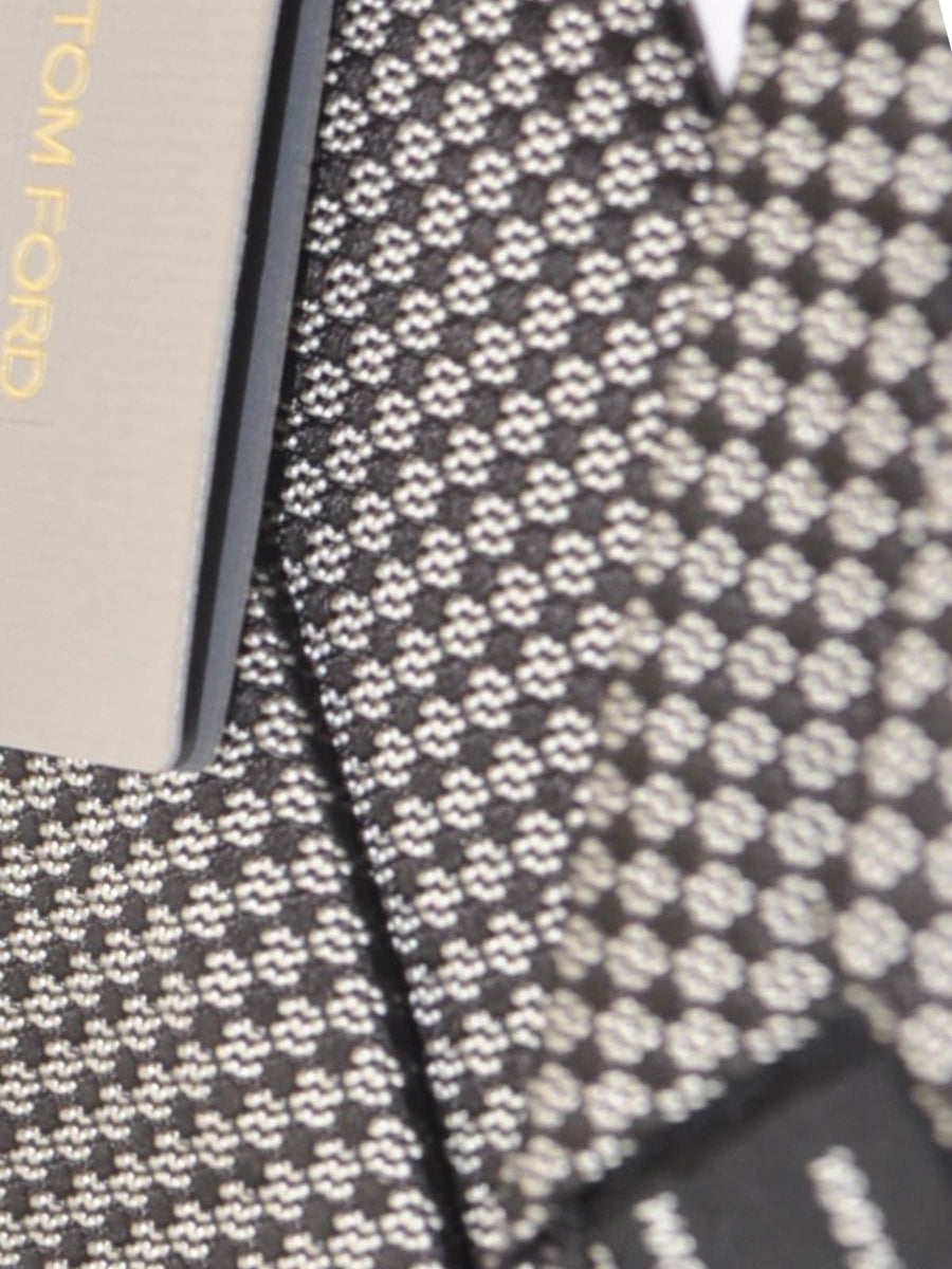 Tom Ford Tie Black Silver Geometric Design SALE