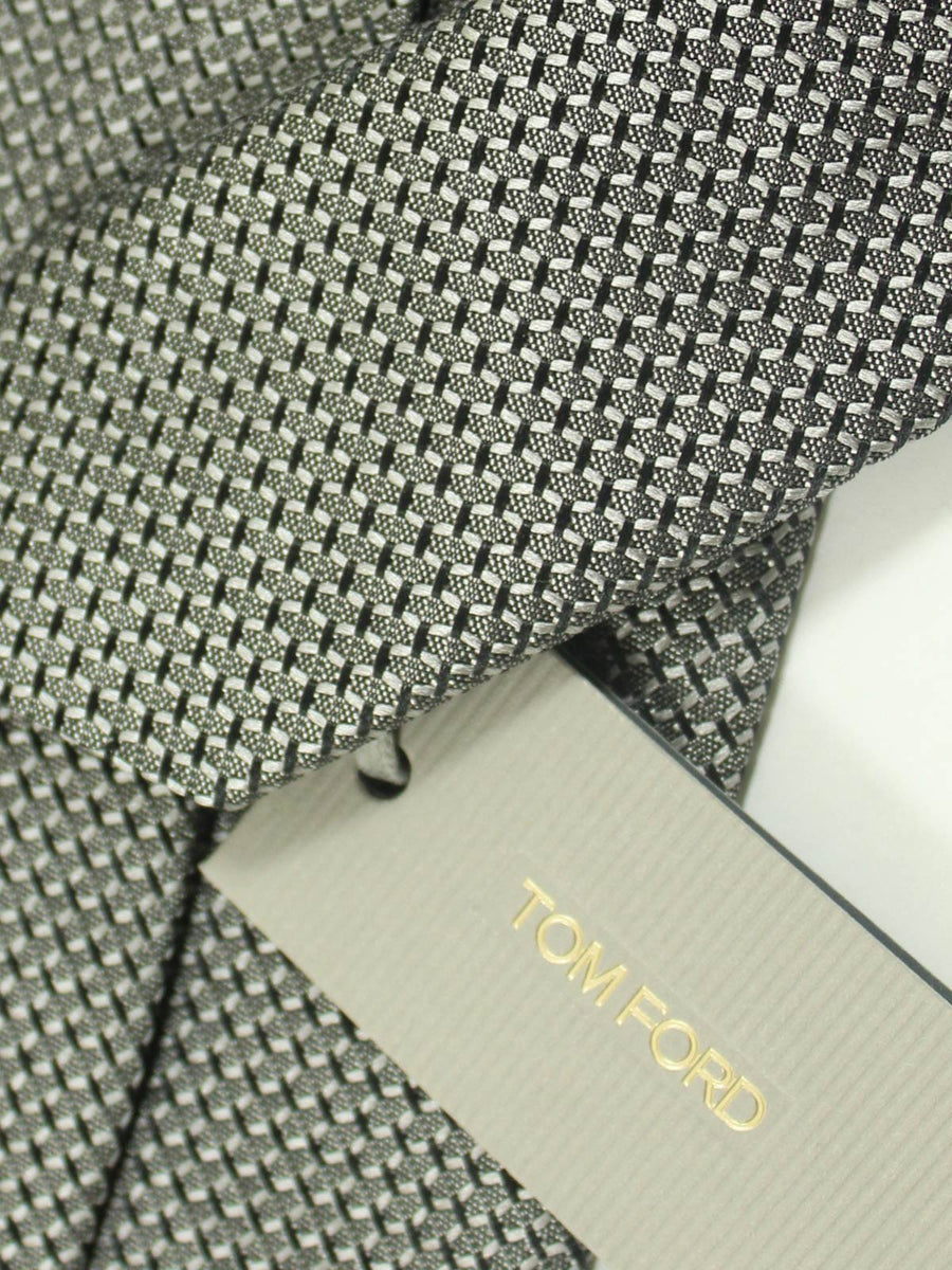 Tom Ford Tie Charcoal Gray Geometric Design