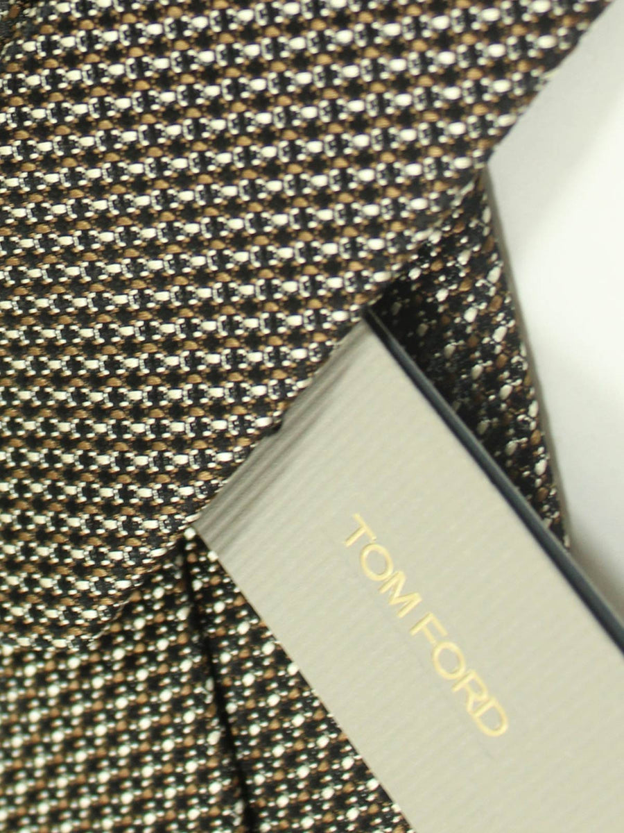 Tom Ford Tie Black Silver Brown Geometric Design