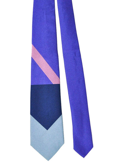Gene Meyer Tie Navy Gray Purple Pink Design