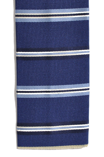 Franco Bassi Tie Navy Stripes Cotton Silk Square End Necktie