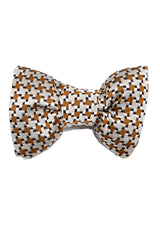 Tom Ford Bow Tie Brown Black Silver Houndstooth