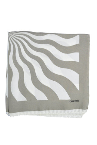 Tom Ford Pocket Square Taupe White SALE