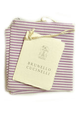 Brunello Cucinelli Pocket Square Purple Stripes Hankie