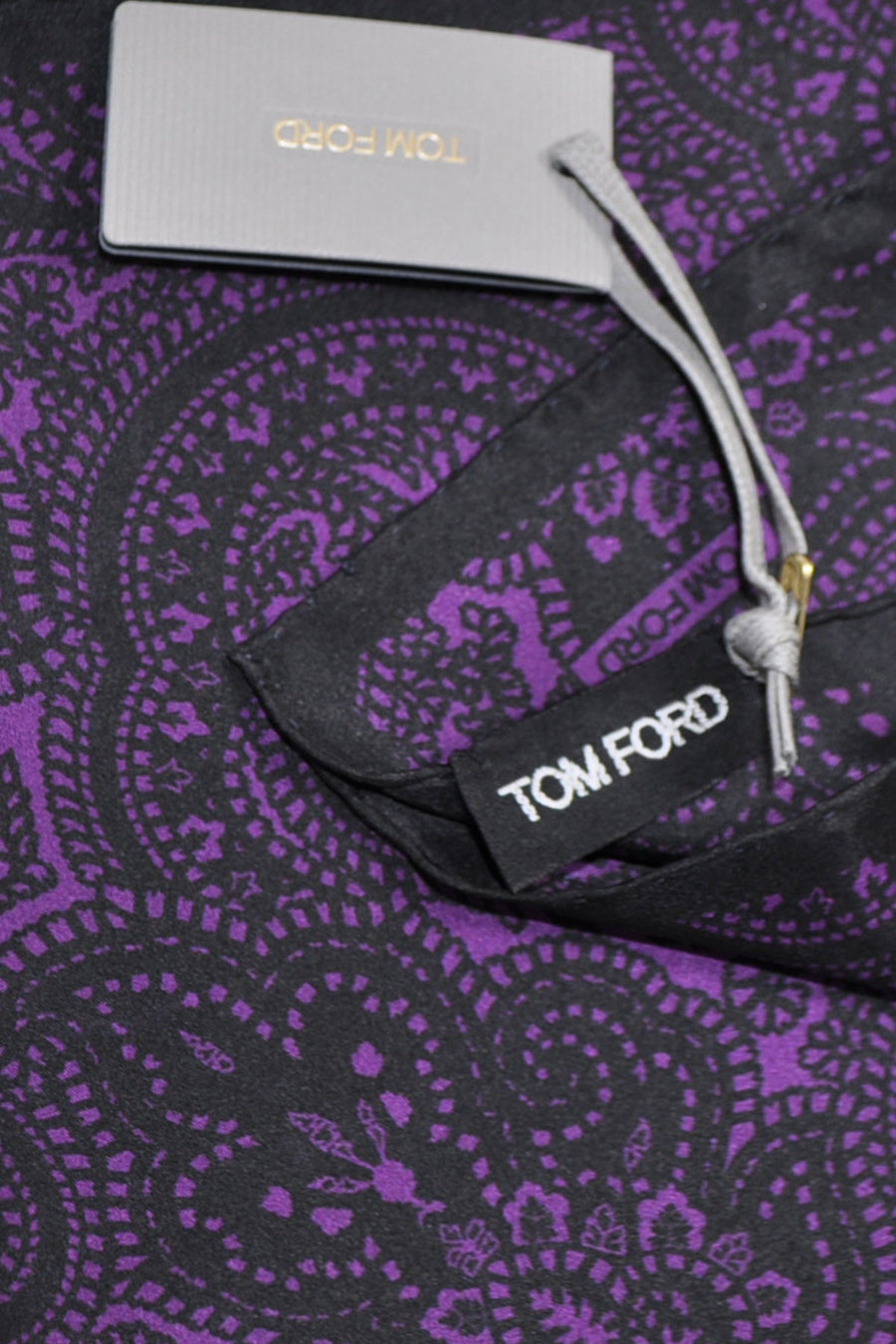 Tom Ford Silk Pocket Square Purple Black Ornamental Floral