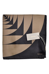 Tom Ford Silk Pocket Square Black Taupe Design