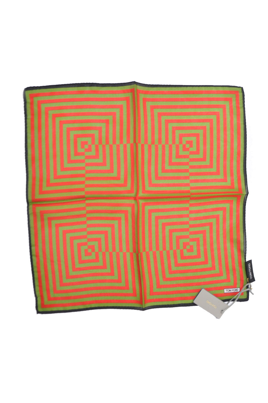 Tom Ford Pocket Square Red Green Squares Stripes