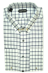 Tom Ford Shirt White Navy Windowpane Pin Collar