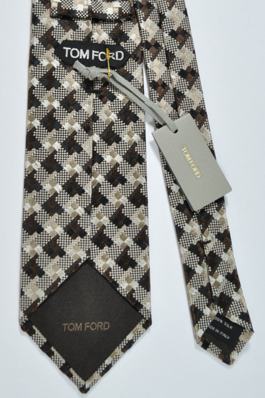 Tom Ford Tie Brown Gold Silver