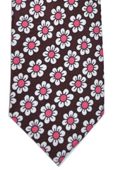Tom Ford Necktie Brown Pink Flowers