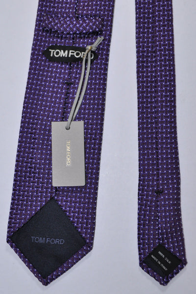 Tom Ford Tie Purple Silver Micro dots Jacquard Silk Necktie