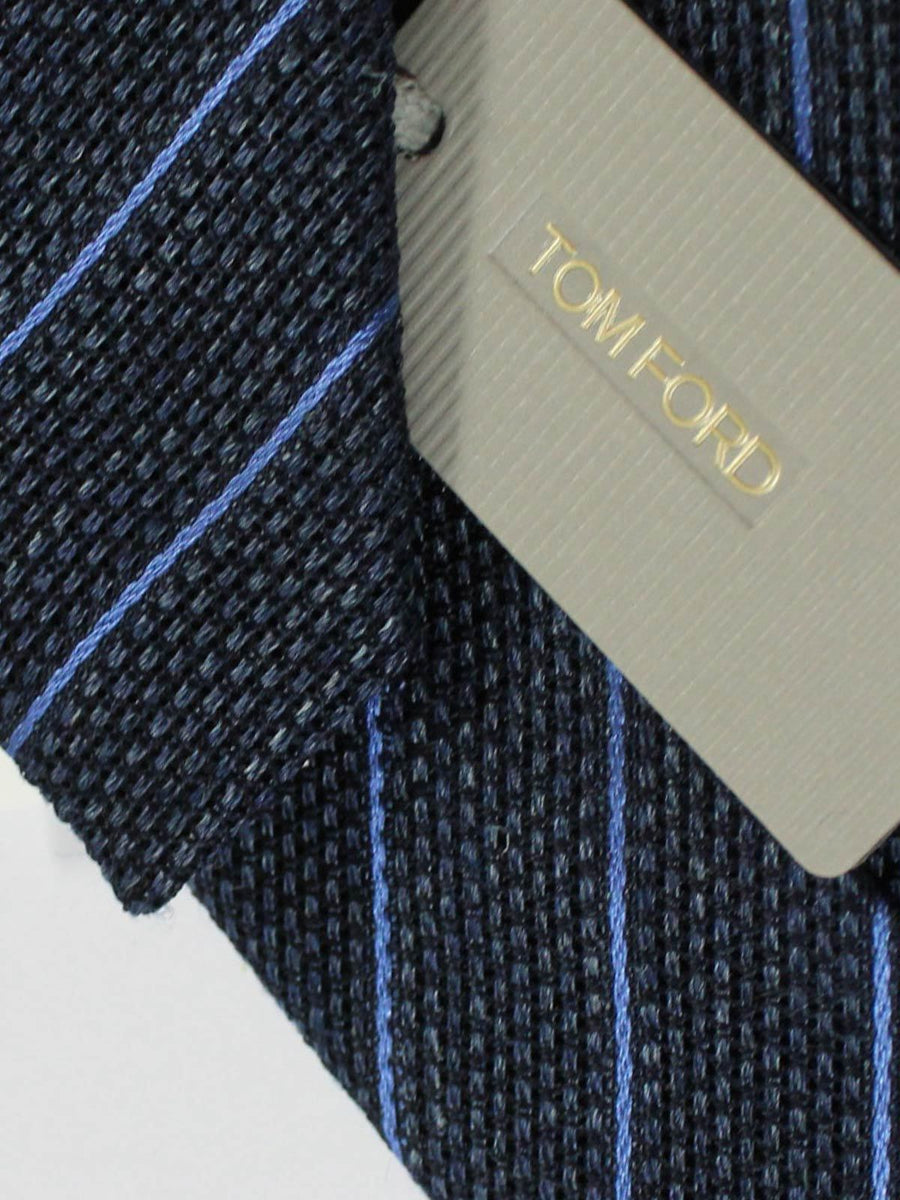 Tom Ford Linen Silk Tie Charcoal Royal Stripes