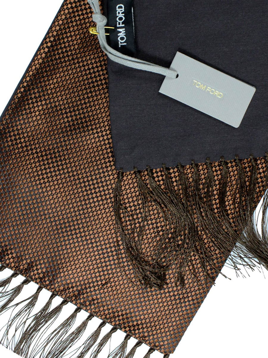 Tom Ford Scarf Brown Design Cashmere Silk Men Shawl SALE