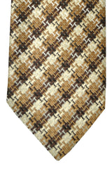 Tom Ford Silk Tie Chocolate Tan Silver Geometric Design