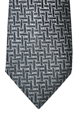 Tom Ford Tie Gray Black Silver Geometric Design