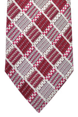 Tom Ford Tie Red Gray Silver Stripes