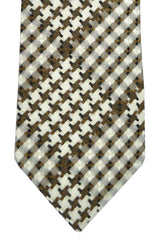 Tom Ford Necktie Brown Silver Green Geometric
