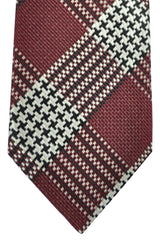 Tom Ford Necktie Maroon Black Silver Stripes