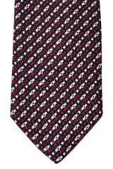 Tom Ford Tie Black Fuchsia Silver Stripes