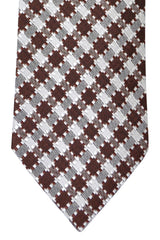 Tom Ford Tie Brown Silver Geometric