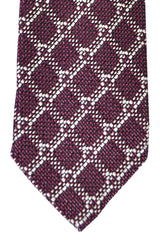 Tom Ford Tie Burgundy Silver Geometric