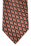 Tom Ford Silk Tie Brown Silver Geometric