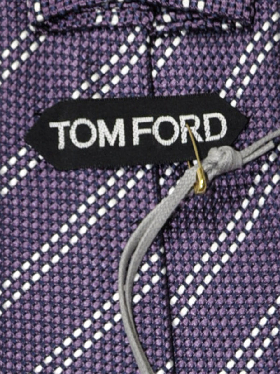 Tom Ford Tie Plum Silver Stripes Silk Necktie