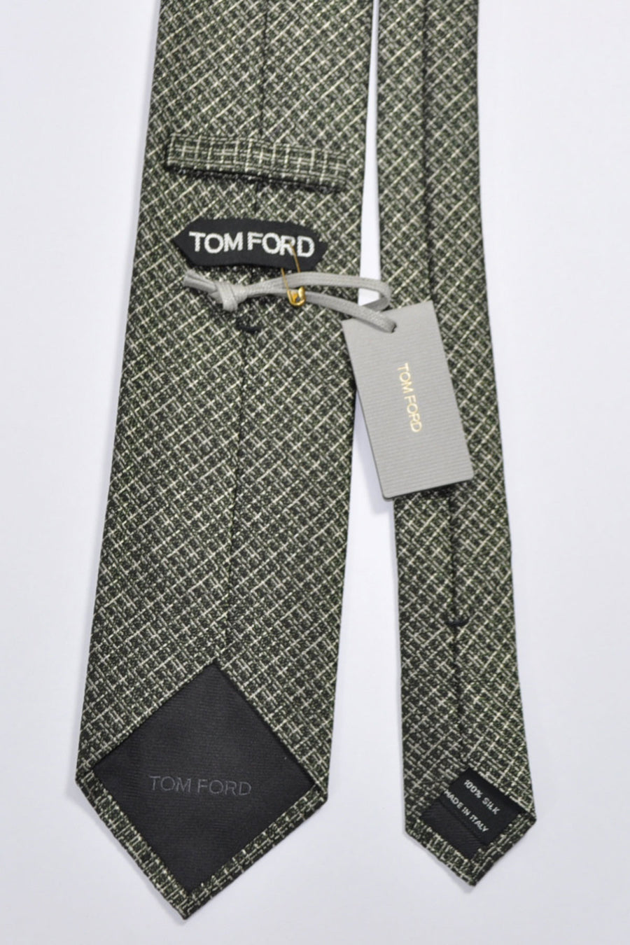 Tom Ford Tie Black Green Silver Silk Necktie SALE