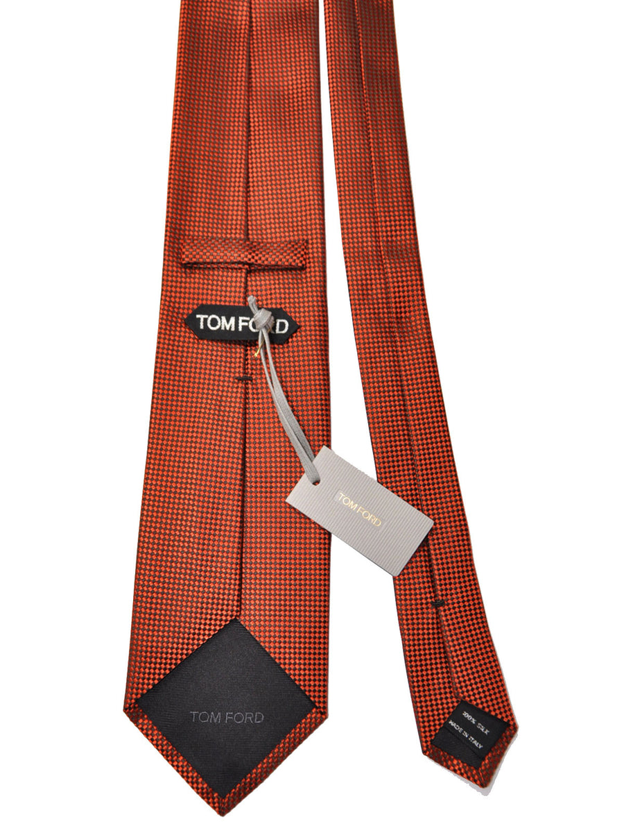 Tom Ford Tie Orange Dark Brown Geometric Silk Necktie