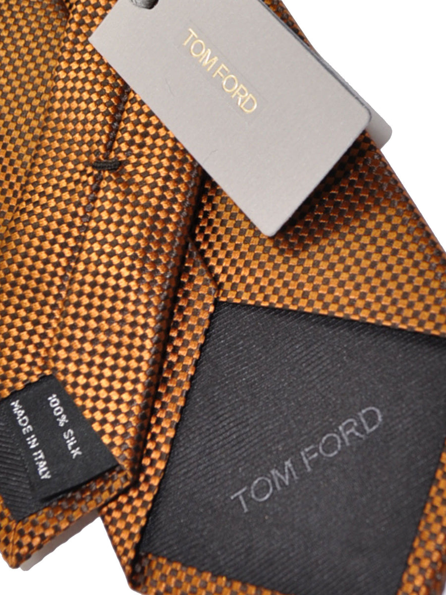 Tom Ford Tie Brown Geometric Silk Necktie