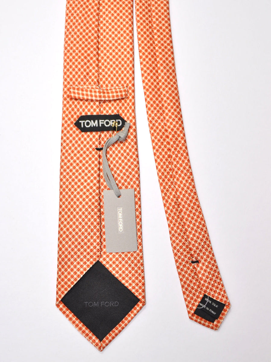 Tom Ford Tie Peach Orange Silver Geometric Silk Necktie