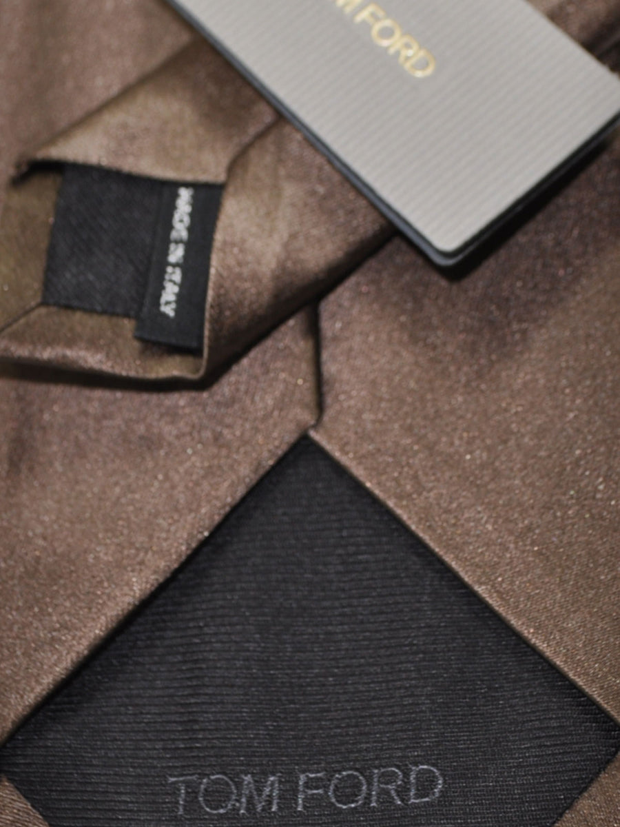 Tom Ford Silk Cotton Tie Taupe Solid