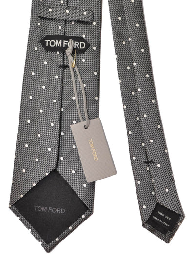 Tom Ford Tie Charcoal Gray Dots New