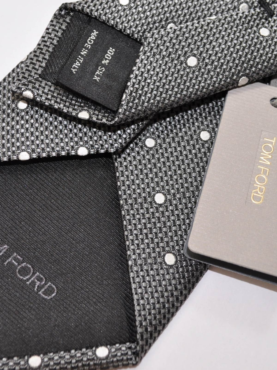 Tom Ford Tie Charcoal Gray Dots