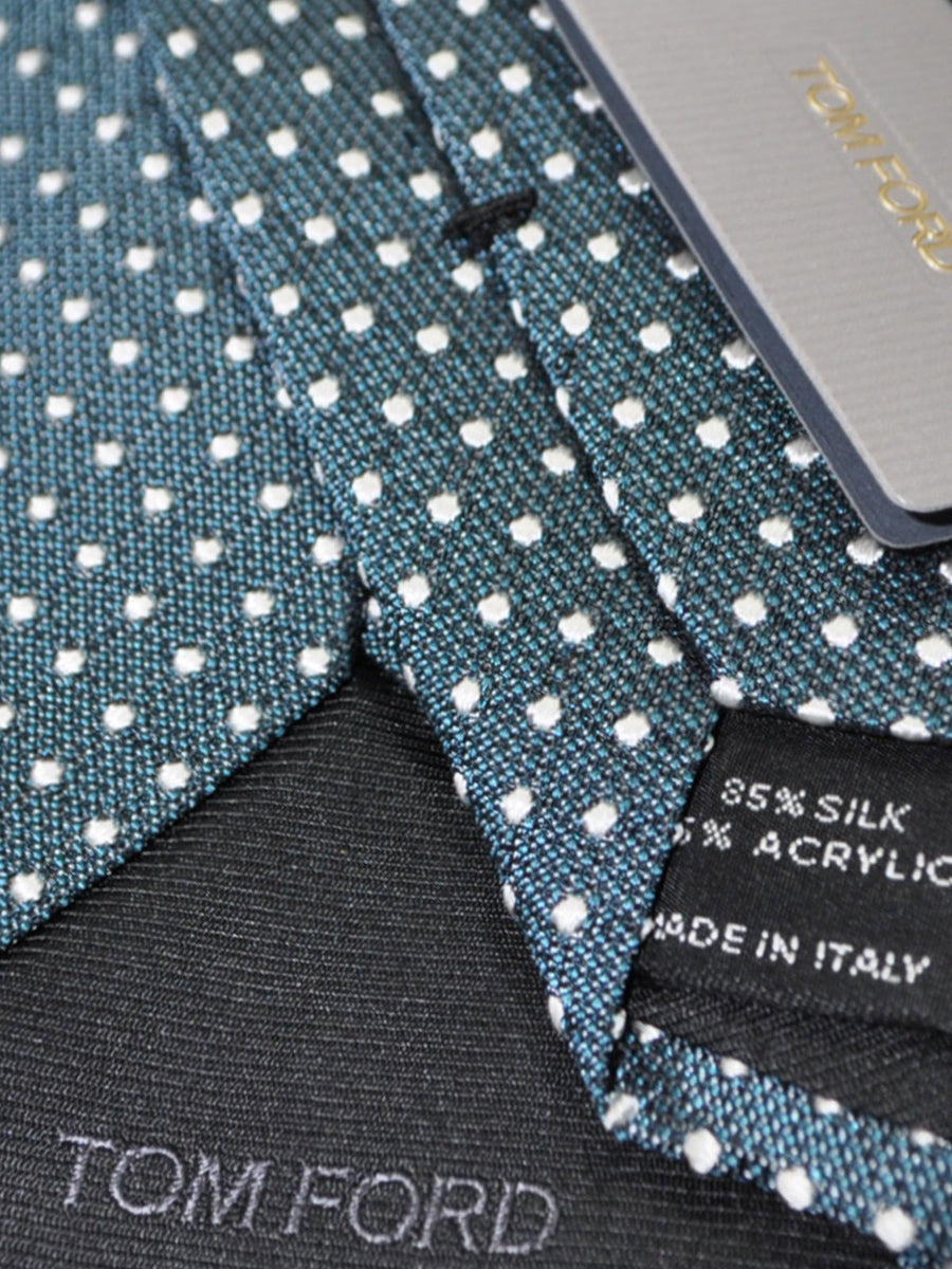 Tom Ford Tie Green Silver Dots