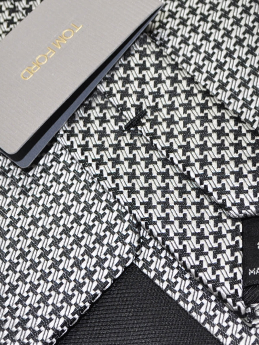 Tom Ford Tie Silver Black Geometric
