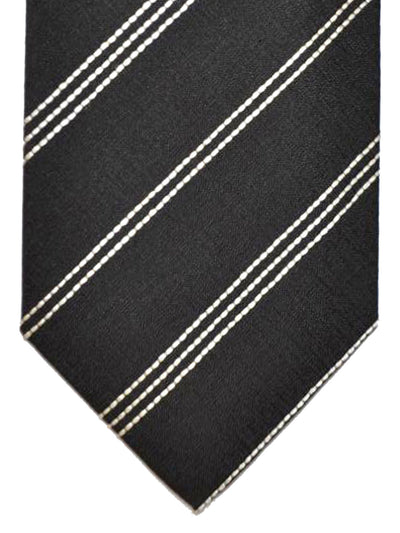 Tom Ford Silk Tie Black Silver Stripes