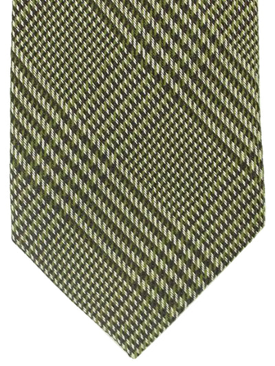 Tom Ford Tie Silver Green Black Tartan Design