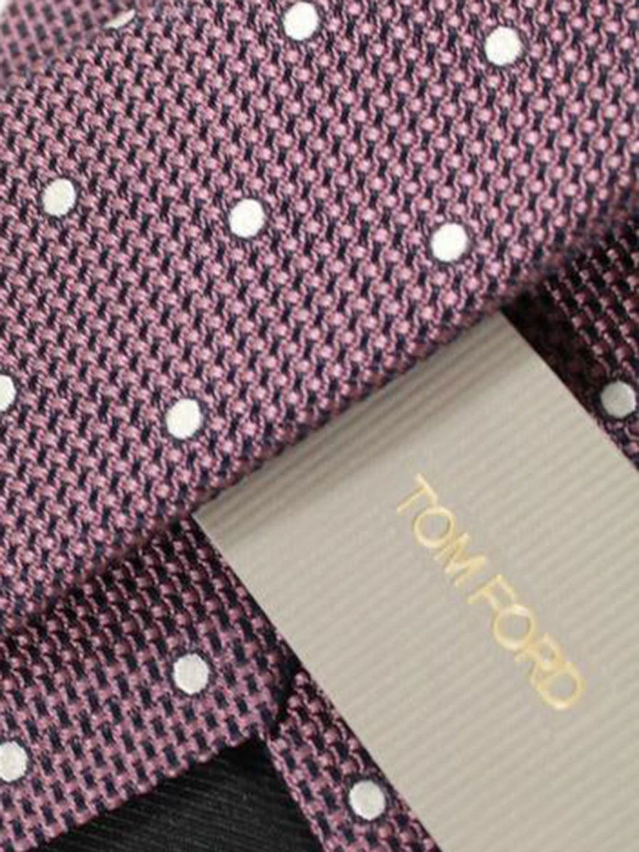 Tom Ford Tie Dust Pink Silver Dots