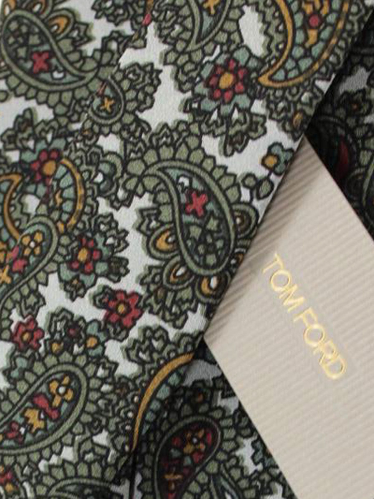 Tom Ford Tie Gray Forest Green Paisley