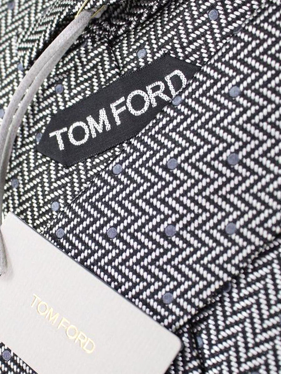 Tom Ford Tie Silver Gray Herringbone - Silk Wide Necktie