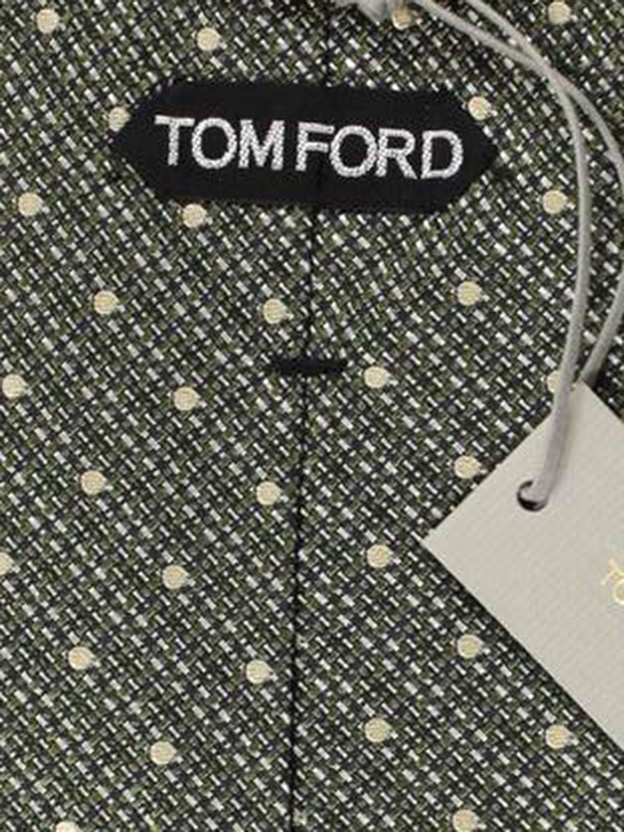Tom Ford Tie Green Dots - Silk Wide Necktie