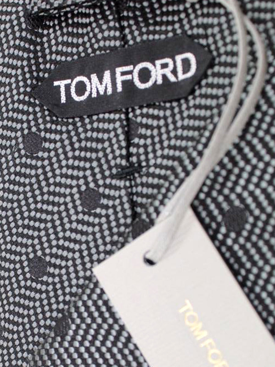 Tom Ford Tie Charcoal Black Dots Herringbone - Silk Wide Necktie