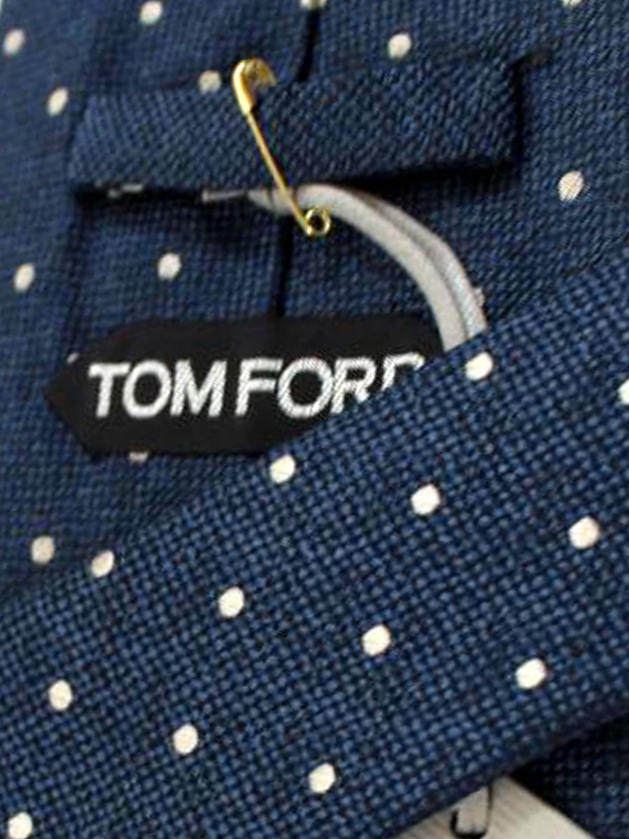 Tom Ford Tie Midnight Blue Black Silver Dots - Wide Necktie