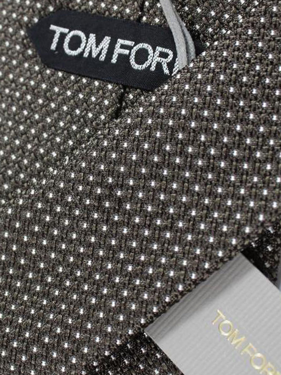 Tom Ford Tie Taupe Grey Brown Silver - Wide Necktie