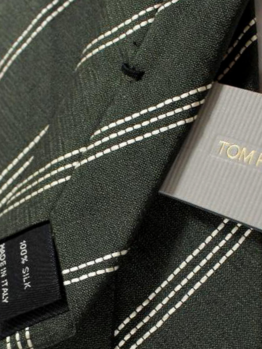 Tom Ford Tie Forest Green Silver Stripes Silk