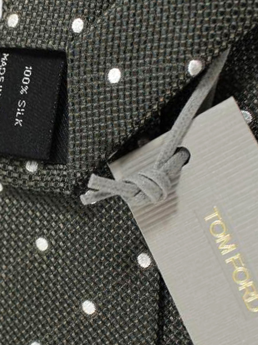 Tom Ford Tie Black Taupe Silver Dots Silk